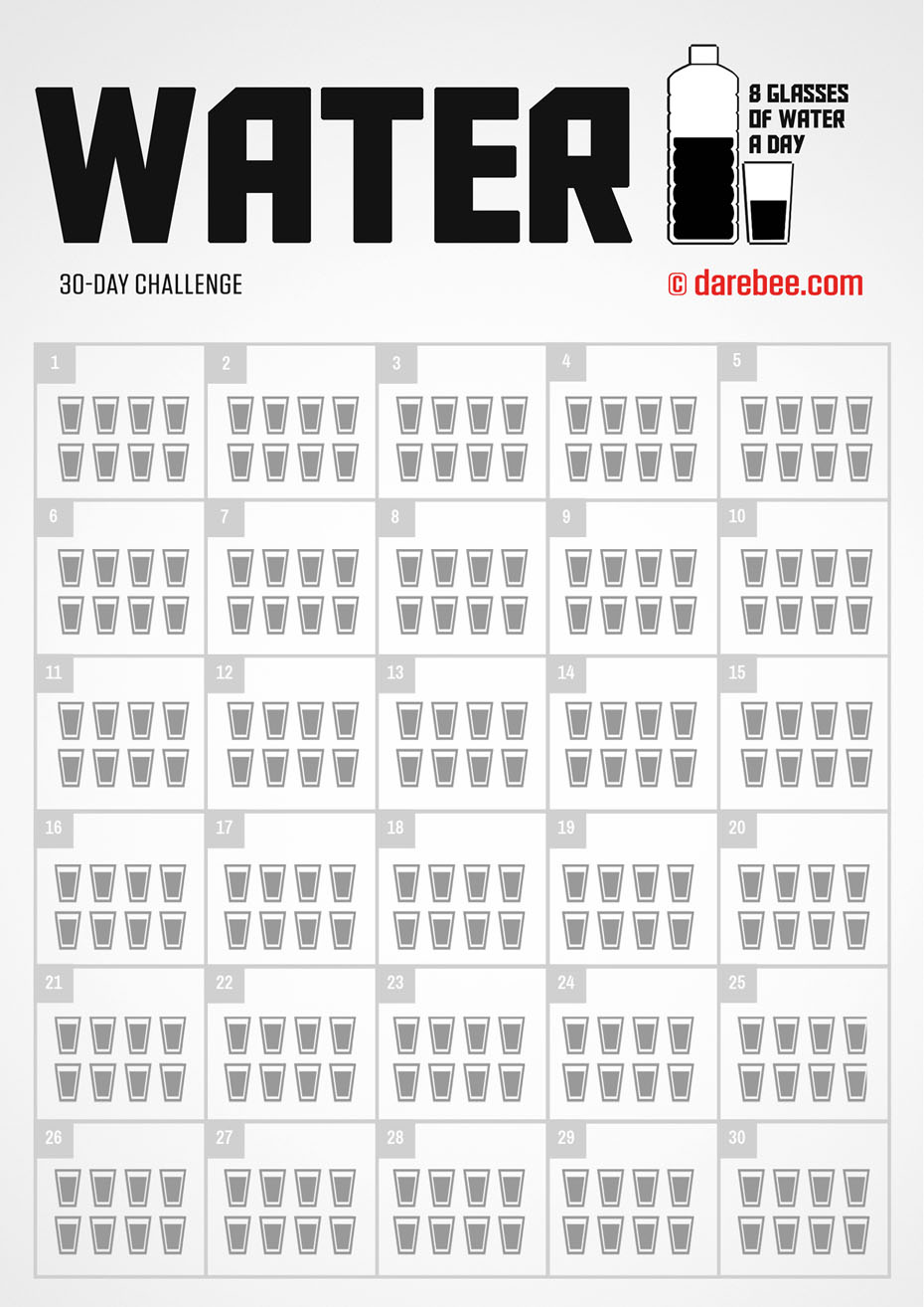 30-Day Water Challenge by DAREBEE