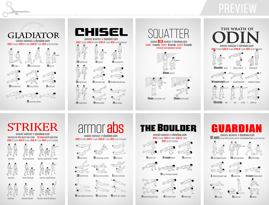 Workout Cards by DAREBEE  / Preview