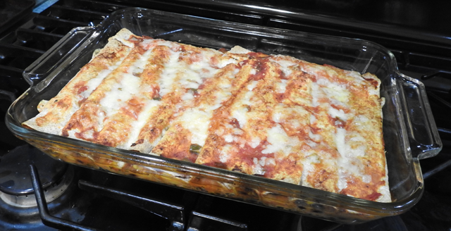 lasagna pan filled with enchiladas
