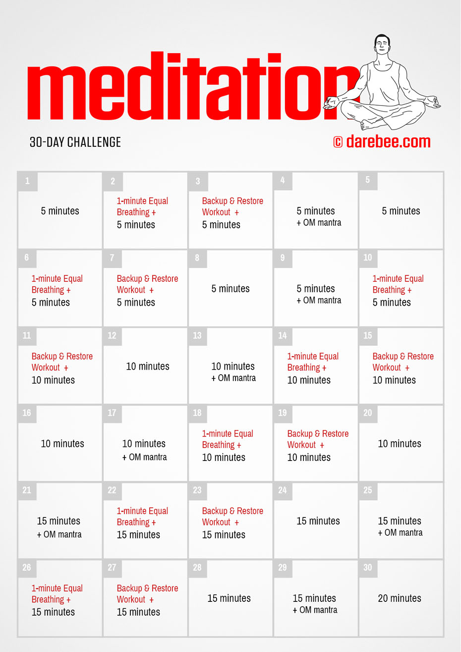 30-Day Meditation Challenge by DAREBEE