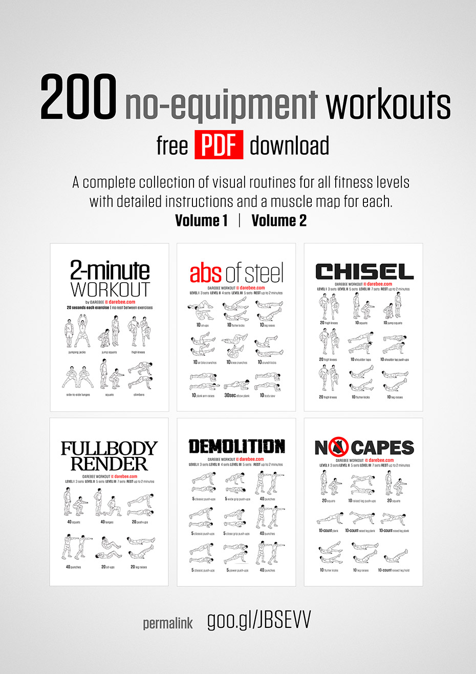 200 No Equipment Workouts