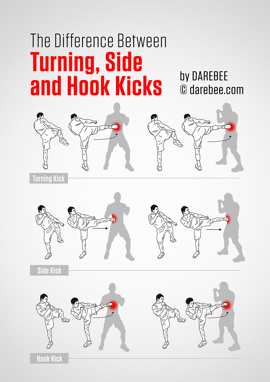 Guides to Kicks - The Difference Between Side Kick, Turning Kicks and Hook Kicks