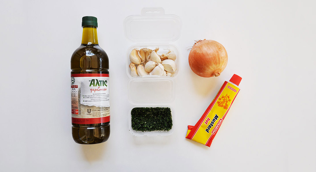 Healthy Eating on a Budget - olive oil, garlic, onions, dill, mustard