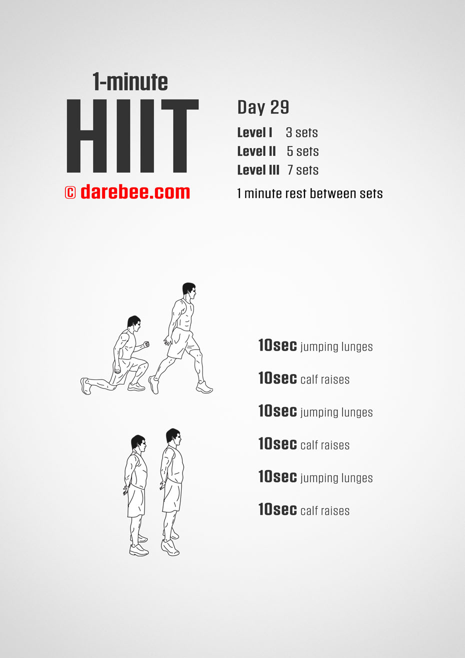 1-Mniute HIIT - 30-Day Program by DAREBEE
