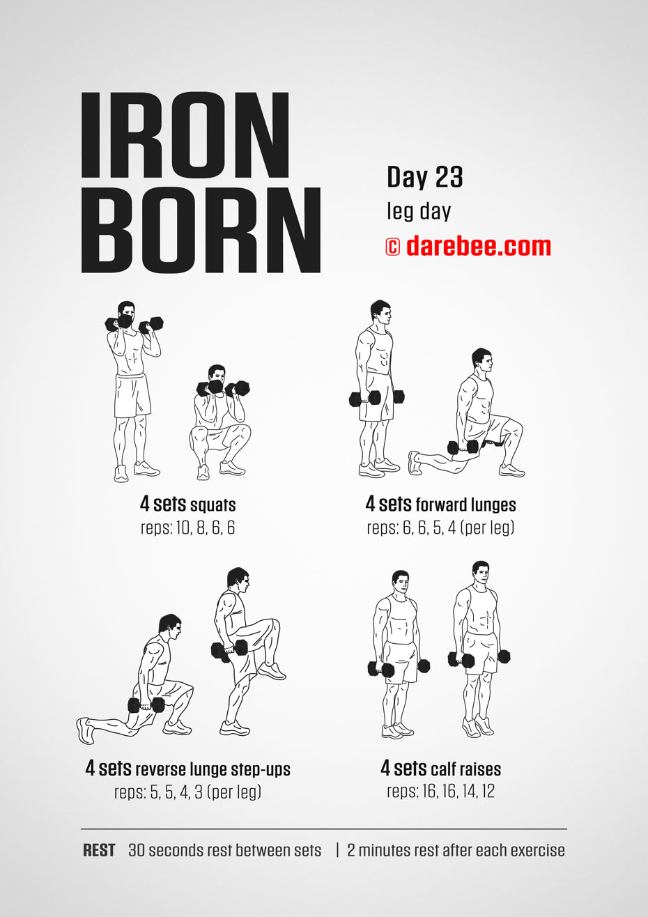 IRONBORN - 30 Day Muscle Definition Dumbbell Program by DAREBEE