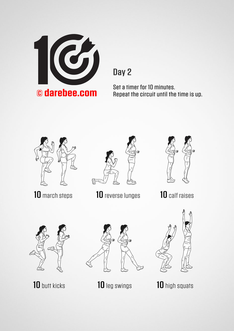 TEN - No-Equipment Fitness Program by DAREBEE