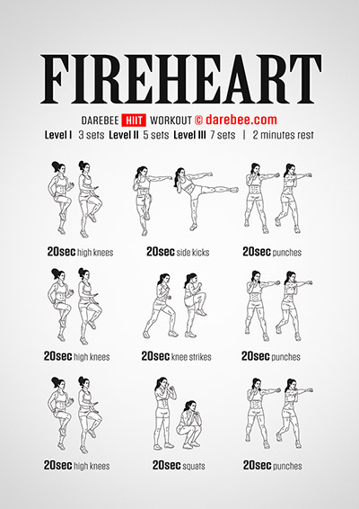 Fireheart free HIIT workout by Darebee