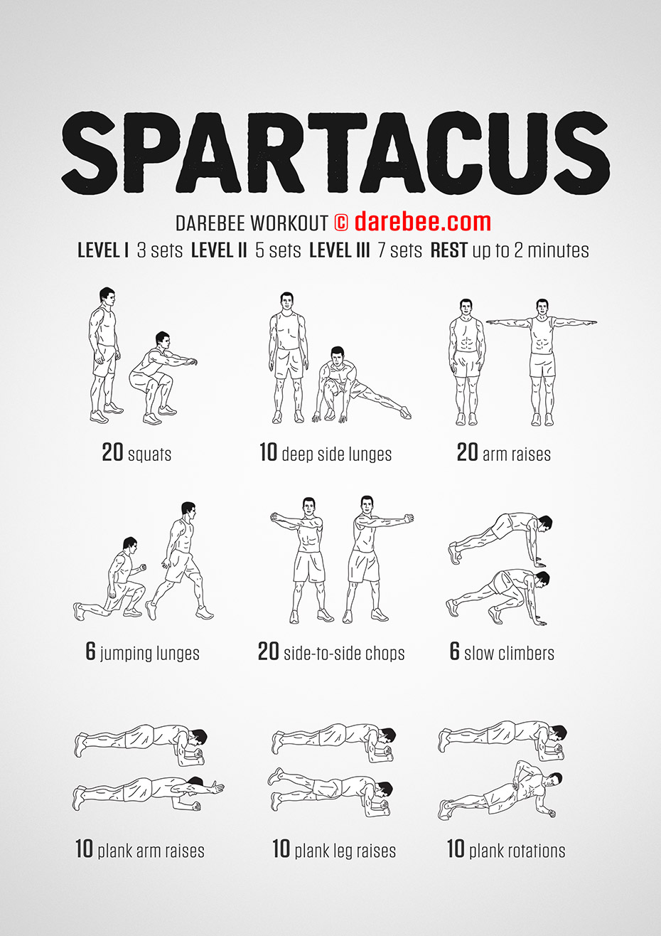 photo about Spartacus Workout Printable named Spartacus Exercise routine